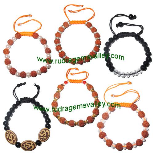 Combo Bracelets Beaded adjustable free size rudraksha bracelets, glass beads bracelets and om bracelets (pack of 6 beaded bracelets as per picture)