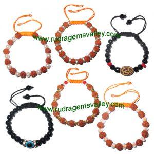 Combo Bracelets Beaded adjustable free size rudraksha bracelets, glass beads bracelets, evil eye bracelets and om bracelets (pack of 6 beaded bracelets as per picture)