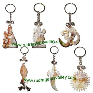 Acrylic Plastic Key Rings Lord Shiva, Lord Hanuman, Om, Fish, Sward, Om on Sun (pack of 6 key rings as per picture)