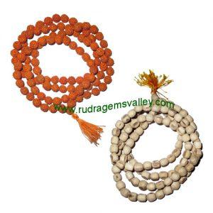 Combo Mala Rudraksha 5 face (5 mukhi) 108+1 beads mala of 7mm beads + fine quality real tulsi 6mm beads mala as per picture (pack of 2 malas)