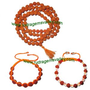Combo Mala+Bracelets Rudraksha 5 face (5 mukhi) 7.5mm to 8mm 108+1 beads mala (pack of 1 mala + 2 rudraksha bracelets, color reddish-orange)