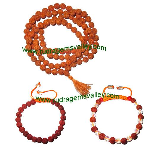 Combo Mala+Bracelets Rudraksha 5 face (5 mukhi) 7.5mm to 8mm 108+1 beads mala (pack of 1 mala + 2 rudraksha bracelets, color reddish-orange)