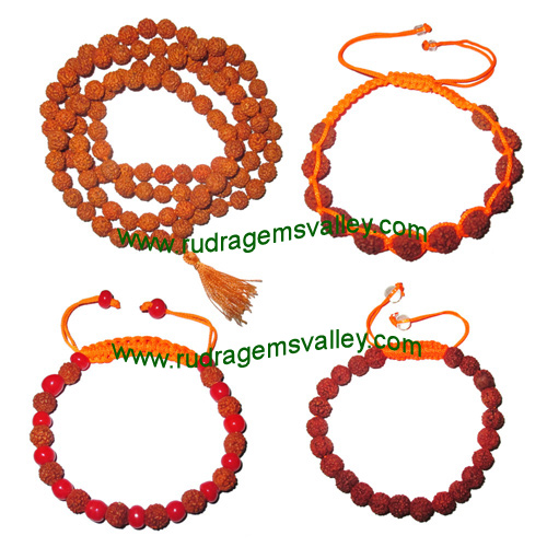 Combo Mala+Bracelets Rudraksha 5 face (5 mukhi) 7.5mm to 8mm 108+1 beads mala (pack of 1 mala + 3 rudraksha bracelets, color reddish-orange)
