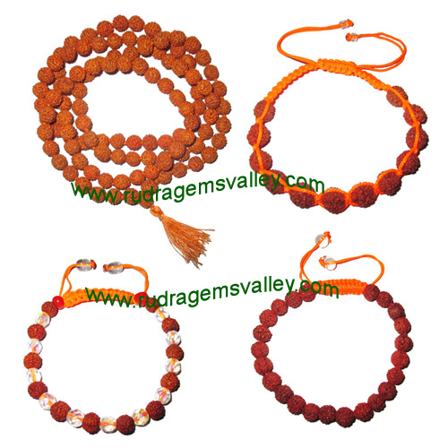 Combo Mala+Bracelets Rudraksha 5 face (5 mukhi) 7.5mm to 8mm 108+1 beads mala (pack of 1 mala + 3 rudraksha bracelets, color reddish-orange)