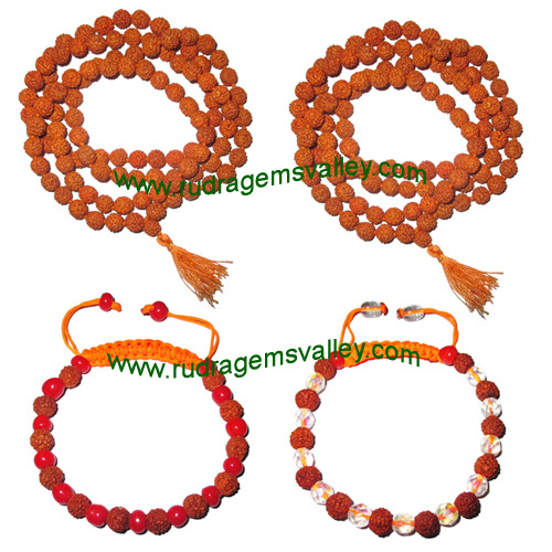 Combo Mala+Bracelets Rudraksha 5 face (5 mukhi) 7.5mm to 8mm 108+1 beads mala (pack of 2 mala + 2 rudraksha bracelets, color reddish-orange)