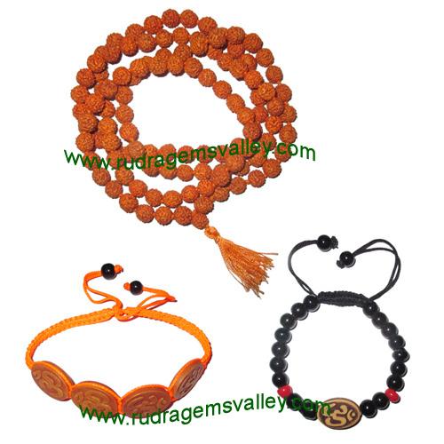 Combo Mala+Bracelets Rudraksha 5 face (5 mukhi) 7.5mm to 8mm 108+1 beads mala (pack of 1 mala + 2 bracelets as per picture)