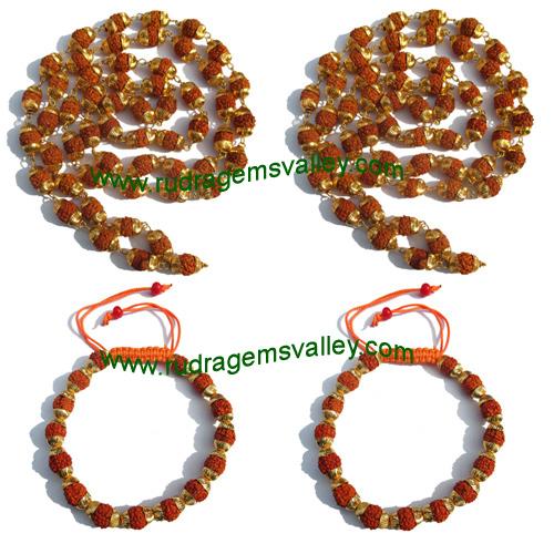Combo Mala+Bracelets Rudraksha five face (5 mukhi) beads necklaces and bracelets with metal caps, beads size 7mm to 7.5mm, bracelet size adjustable, color reddish-orange (pack of 2 necklace and 2 bracelets)
