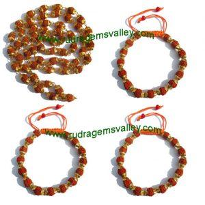 Combo Mala+Bracelets Rudraksha five face (5 mukhi) beads necklaces and bracelets with metal caps, beads size 7mm to 7.5mm, bracelet size adjustable, color reddish-orange (pack of 1 necklace and 3 bracelets)
