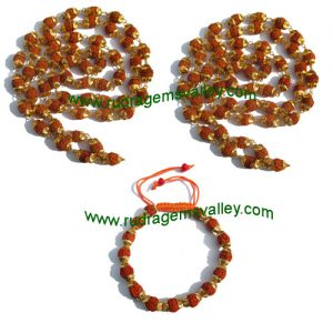 Combo Mala+Bracelets Rudraksha five face (5 mukhi) beads necklaces and bracelets with metal caps, beads size 7mm to 7.5mm, bracelet size adjustable, color reddish-orange (pack of 2 necklace and 1 bracelets)