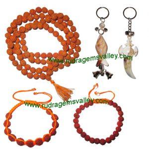Combo Pack Rudraksha 5 face (5 mukhi) 7.5mm to 8mm 108+1 beads mala, rudraksha bracelets and acrylic key ring set (pack of 1 rudraksha mala, 2 bracelets, 2 key rings)