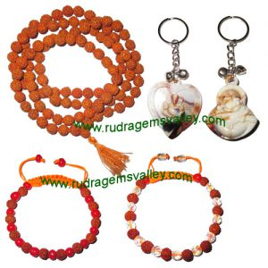 Combo Pack Rudraksha 5 face (5 mukhi) 7.5mm to 8mm 108+1 beads mala, rudraksha bracelets and acrylic key ring set (pack of 1 rudraksha mala, 2 bracelets, 2 key rings)