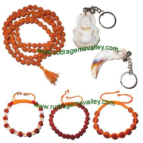 Combo Pack Rudraksha 5 face (5 mukhi) 7.5mm to 8mm 108+1 beads mala, rudraksha bracelets and acrylic key ring set (pack of 1 rudraksha mala, 3 bracelets, 2 key rings)