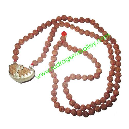 Rudraksha 1 mukhi (one face) beads, kaju shape (cashewnut shape) Indonesian pure original rudraksha beads as locket in 7mm 5 mukhi (five face) Indonesian 108 beads knotted mala.