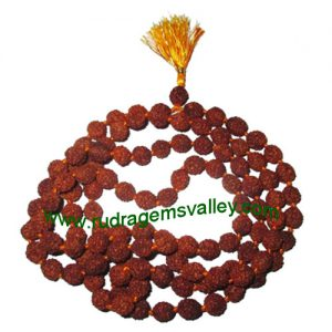 Rudraksha 4 mukhi (four face) 9mm beads string (mala of 108+1 beads), Indonesian pure original rudraksha, available in natural color as well as dyed color with or without knots, pack of 1 string.