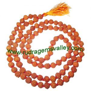 Rudraksha 5 mukhi (five face) 4mm-4.5mm beads string (mala of 108+1 beads), Indonesian pure original rudraksha, available in natural color as well as dyed color with or without knots, pack of 1 string.
