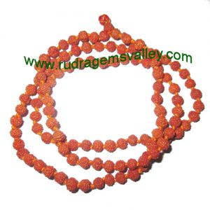 Rudraksha 5 mukhi (five face) 6mm to 6.5mm beads string (mala of 108+1 beads), Indonesian pure original rudraksha, available in natural color as well as dyed color with or without knots, pack of 1 string.