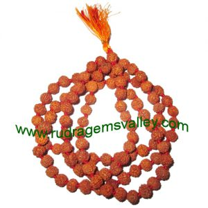 Rudraksha 5 mukhi (five face) 7mm to 7.5mm beads string (mala of 108+1 beads), Indonesian pure original rudraksha, available in natural color as well as dyed color with or without knots, pack of 1 string.