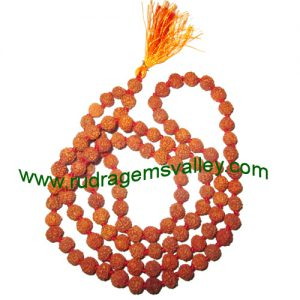 Rudraksha 5 mukhi (five face) 10mm to 10.5mm beads string (mala of 108+1 beads), Indonesian pure original rudraksha, available in natural color as well as dyed color with or without knots, pack of 1 string.
