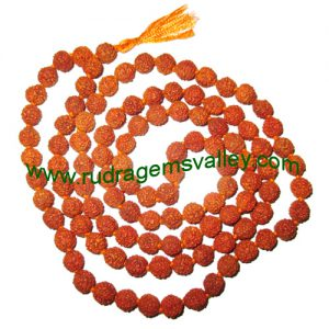 Rudraksha 5 mukhi (five face) 14mm beads string (mala of 108+1 beads), Indonesian pure original rudraksha, available in natural color as well as dyed color with or without knots, pack of 1 string.