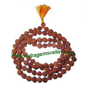 Rudraksha 6 mukhi (six face) 8mm beads string (mala of 108+1 beads), Indonesian pure original rudraksha, available in natural color as well as dyed color with or without knots, pack of 1 string.