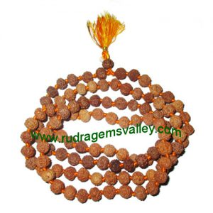 Rudraksha 7 mukhi (seven face) 9mm beads string (mala of 108+1 beads), Indonesian pure original rudraksha, available in natural color as well as dyed color with or without knots, pack of 1 string.