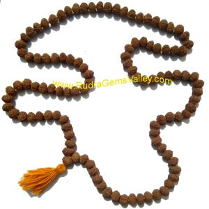 Rudraksha 8 mukhi (eight face) 108+1 beads knotted mala, approx 8mm to 10mm beads, Indonesia pure original rudraksha.