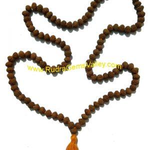 Rudraksha 9 mukhi (nine face) 108+1 beads knotted mala, approx 8mm to 10mm beads, Indonesia pure original rudraksha.