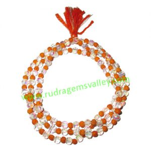 Rudrani Beads String (Mala), tiny rudraksha 3.5mm to 4mm size beads with white glass beads mala, pack of 1 string.