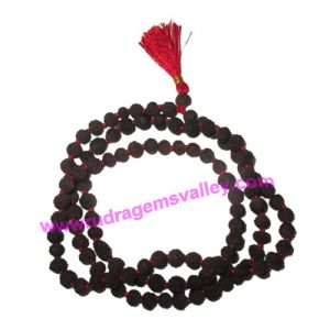 Rudraksha 5 mukhi (five face) black dyed 7mm beads mala of 108+1 beads, Indonesian pure original rudraksha in black color and knotted each beads, pack of 1 string.