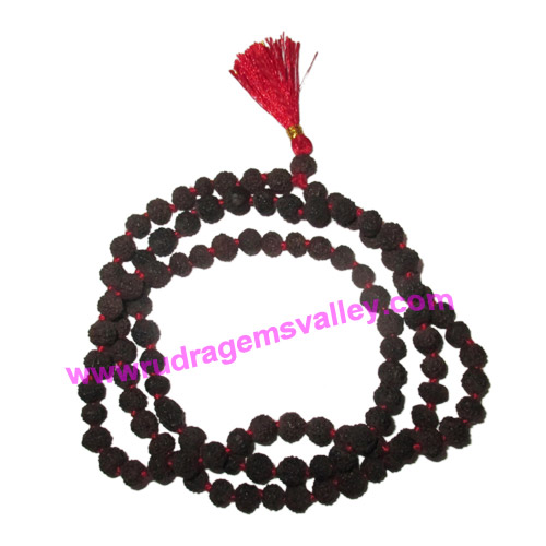 Rudraksha 5 mukhi (five face) black dyed 9mm beads mala of 108+1 beads, Indonesian pure original rudraksha in black color and knotted each beads, pack of 1 string.