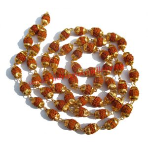 Rudraksha 5 mukhi (five face) 7mm to 8mm beads mala of 54+1 beads with gold plated metal caps, no tassel, Indonesian pure original rudraksha, also available in natural color as well as dyed color with or without knots, pack of 1 mala.
