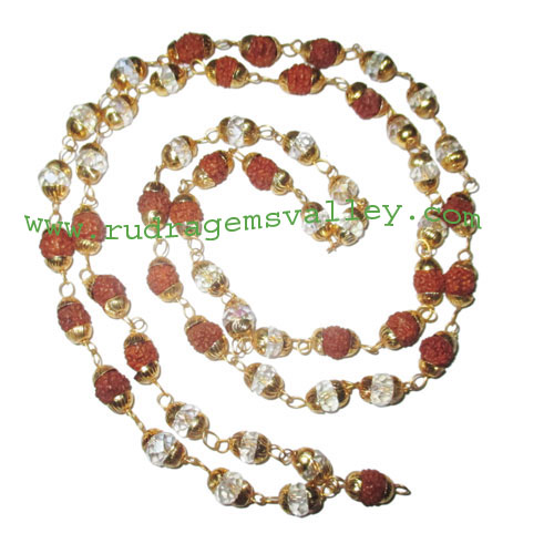 Rudraksha 5 mukhi (five face) 7mm to 8mm beads mala of 54+1 beads (25 rudraksha and 30 diamond glass beads) knotted in gold plated metal wire with caps, no tassel, Indonesian pure original rudraksha, also available in natural color as well as dyed color w