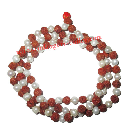 Rudraksha 5 mukhi (five face) 7mm to 7.5mm beads mala of 108+1 beads including 54 fresh water pearls, no tassels, Indonesian pure original rudraksha, available in natural color as well as dyed color with or without knots, pack of 1 string.