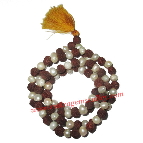 Rudraksha 5 mukhi (five face) 7mm to 7.5mm beads mala of 108+1 beads including 54 fresh water pearls, Indonesian pure original rudraksha, available in natural color as well as dyed color with or without knots, pack of 1 string.