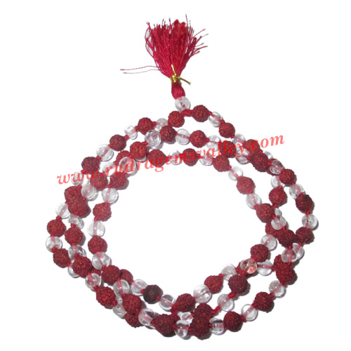 Rudraksha 5 mukhi (five face) 7mm to 7.5mm beads mala of 108+1 beads including 54 crystal stones (sphatik), Indonesian pure original rudraksha, available in natural color as well as dyed color with or without knots, pack of 1 string.