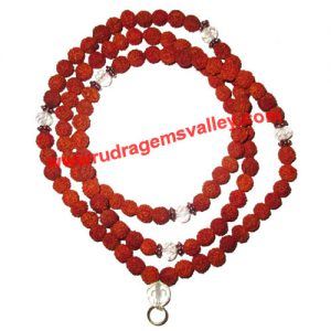 Rudraksha 5 mukhi (five face) 7mm to 8mm beads mala (of 108 rudraksha and 7 crystal glass beads and a ring for hanging pendant), Indonesian pure original rudraksha, available in natural color as well as dyed color with or without knots, pack of 1 string.