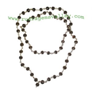 Rudraksha 5 mukhi (five face) 5.5mm to 6mm mala of 54+1 beads in sterling silver (real silver) cap and wire, no tassel, Indonesian pure original rudraksha, also available in natural color as well as dyed color with or without knots, pack of 1 mala.