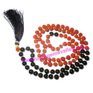Rudraksha 5 mukhi (five face) 7mm 73 beads and 36 black star stone mala total 108+1 beads, Indonesian pure original rudraksha, we also welcome custom design orders, pack of 1 mala.