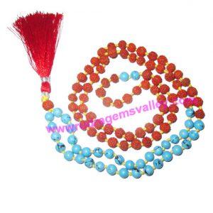 Rudraksha 5 mukhi (five face) 7mm 73 beads and 36 turquoise stone mala total 108+1 beads, Indonesian pure original rudraksha, we also welcome custom design orders, pack of 1 mala.