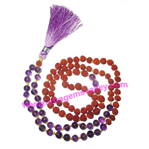 Rudraksha 5 mukhi (five face) 7mm 73 beads and 36 amethyst stone mala total 108+1 beads, Indonesian pure original rudraksha, we also welcome custom design orders, pack of 1 mala.