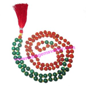 Rudraksha 5 mukhi (five face) 7mm 73 beads and 36 malachite stone mala total 108+1 beads, Indonesian pure original rudraksha, we also welcome custom design orders, pack of 1 mala.