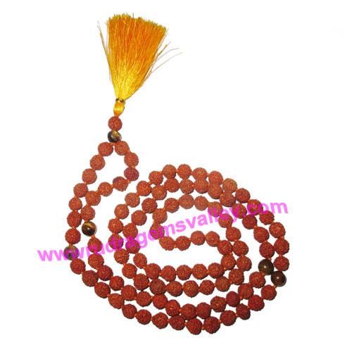 Rudraksha 5 mukhi (five face) 7mm 104 beads and 5 tiger eye stone mala total 108+1 beads, Indonesian pure original rudraksha, we also welcome custom design orders, pack of 1 mala.