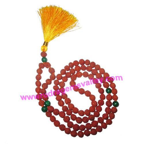 Rudraksha 5 mukhi (five face) 7mm 104 beads and 5 malachite stone mala total 108+1 beads, Indonesian pure original rudraksha, we also welcome custom design orders, pack of 1 mala.