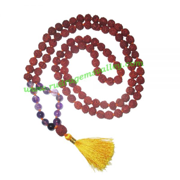Rudraksha 5 mukhi (five face) 8mm with amethyst stone prayer mala (94+1 pcs. rudraksha and 14 pcs. amethyst stone), Indonesian pure original rudraksha with amethyst mala. We also welcome custom design orders. Pack of 1 mala.