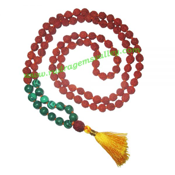 Rudraksha 5 mukhi (five face) 8mm with malachite stone prayer mala (94+1 pcs. rudraksha and 14 pcs. malachite), Indonesian pure original rudraksha with malachite mala. We also welcome custom design orders. Pack of 1 mala.