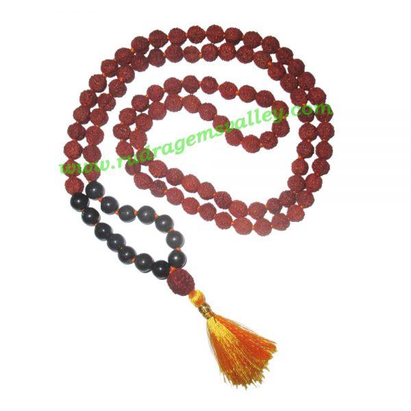 Rudraksha 5 mukhi (five face) 8mm with black agate stone prayer mala (94+1 pcs. rudraksha and 14 pcs. black agate), Indonesian pure original rudraksha with black agate mala. We also welcome custom design orders. Pack of 1 mala.