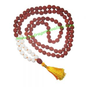Rudraksha 5 mukhi (five face) 8mm with white agate stone prayer mala (94+1 pcs. rudraksha and 14 pcs. white agate), Indonesian pure original rudraksha with white agate mala. We also welcome custom design orders. Pack of 1 mala.