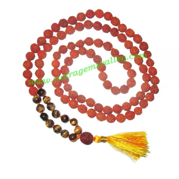 Rudraksha 5 mukhi (five face) 8mm with tiger eye stone prayer mala (94+1 pcs. rudraksha and 14 pcs. tiger eye), Indonesian pure original rudraksha with tiger eye mala. We also welcome custom design orders. Pack of 1 mala.