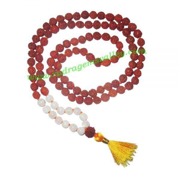 Rudraksha 5 mukhi (five face) 8mm with moonstone prayer mala (94+1 pcs. rudraksha and 14 pcs. moonstone), Indonesian pure original rudraksha with moonstone mala. We also welcome custom design orders. Pack of 1 mala.