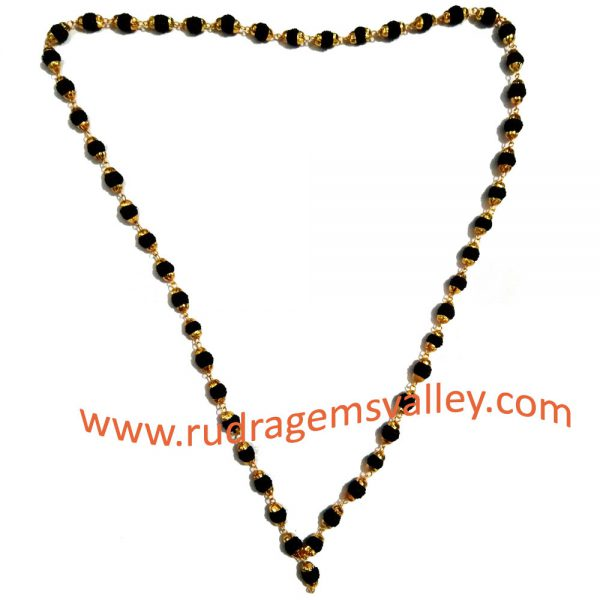 Black dyed rudraksha 5 face beads mala with gold plated metal caps, beads size 6mm, total 50 beads in it, length (circumference) 27 inches.